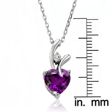 Load image into Gallery viewer, 2.00 Carat tw Amethyst & White Sapphire Heart Pendant in Sterling Silver with Chain