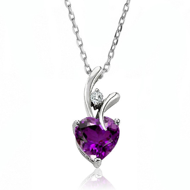 2.00 Carat tw Amethyst & White Sapphire Heart Pendant in Sterling Silver with Chain