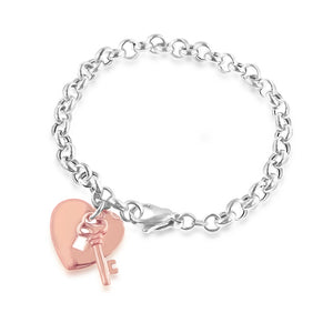 Sterling Silver & Rose Gold Heart Lock & Key Bracelet - 8""