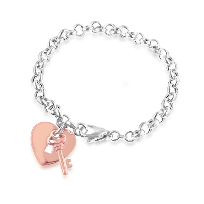 Sterling Silver & Rose Gold Heart Lock & Key Bracelet - 8