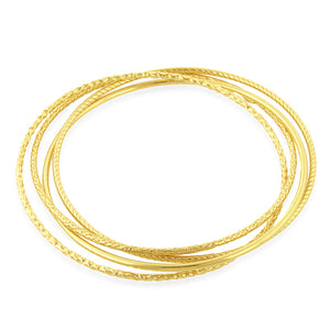 Set of 4 Bangle Bracelets in 18K Yellow Gold Plated Sterling Silver