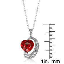 "Load image into Gallery viewer, 6.00 Carat tw Ruby & White Sapphire Heart Pendant in Sterling Silver w/ 18"" Chain"