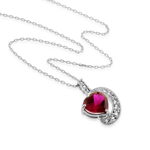 "6.00 Carat tw Ruby & White Sapphire Heart Pendant in Sterling Silver w/ 18"" Chain"