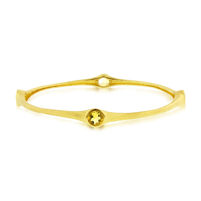 3.20 Carat tw Citrine Bamboo Bangle in Gold over Bronze