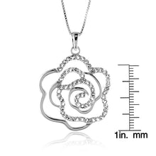 "Load image into Gallery viewer, 1.50 Carat tw White Sapphire Rose Pendant in Sterling Silver with 18"" Chain"