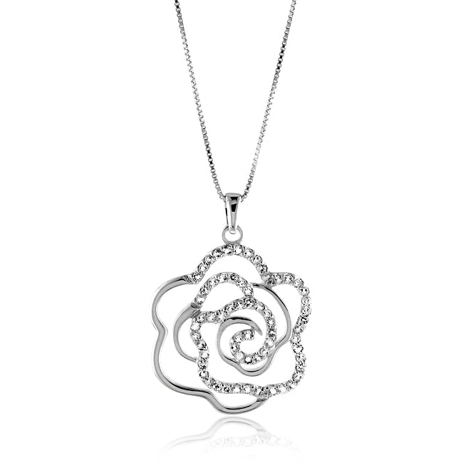 1.50 Carat tw White Sapphire Rose Pendant in Sterling Silver with 18