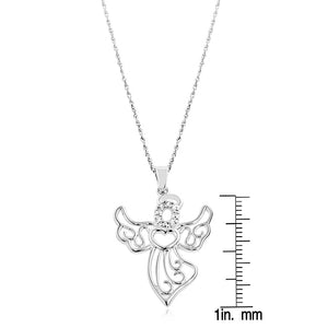 White Sapphire and Sterling Silver Angel Pendant