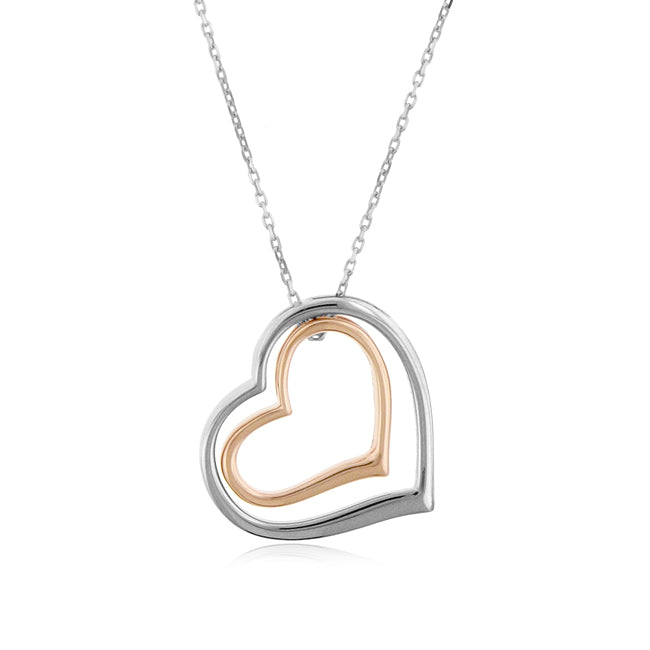 Designer Sterling Silver Double Heart Pendant with Chain