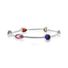 Load image into Gallery viewer, 14.75 Carat tw Gemstone Station Twist Bangle in Sterling Silver