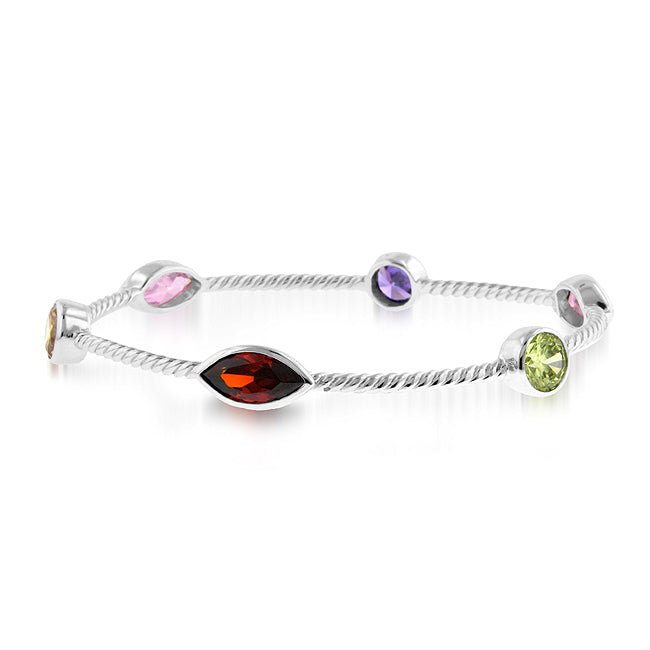 14.75 Carat tw Gemstone Station Twist Bangle in Sterling Silver