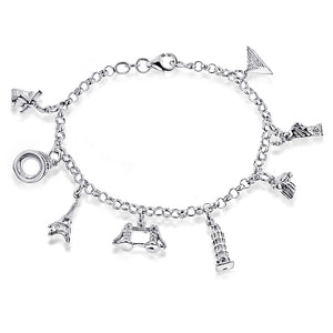 Sterling Silver Around the World Charm Bracelet