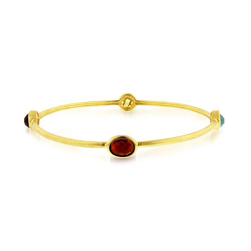 4.00 Carat tw Multi-Gemstone Bangle in Gold over Sterling Silver - 7