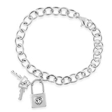 Load image into Gallery viewer, Sterling Silver White Sapphire Lock & Keys Charm Bracelet