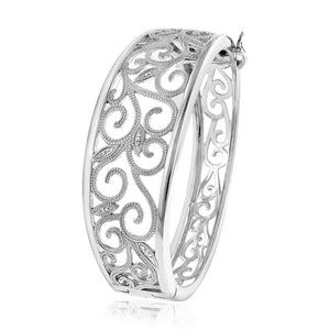 Diamond Accented Vines Bangle in Sterling Silver