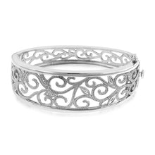 Load image into Gallery viewer, Diamond Accented Vines Bangle in Sterling Silver