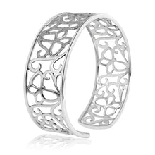 Load image into Gallery viewer, Diamond Accented Butterfly Bangle in Sterling Silver