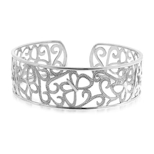 Diamond Accented Butterfly Bangle in Sterling Silver