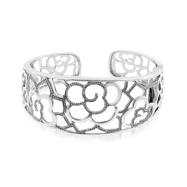 Diamond Accented Floral Frenzy Bangle in Sterling Silver
