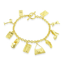 Load image into Gallery viewer, Sterling Silver Gold Plated Rolo Link Multiple Charm Bracelet 7.5""