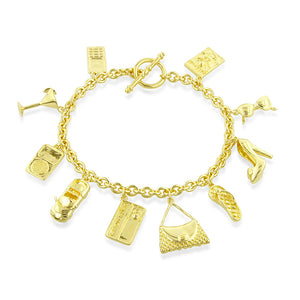 Sterling Silver Gold Plated Rolo Link Multiple Charm Bracelet 7.5""