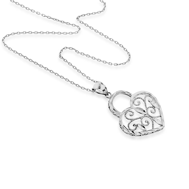 Sterling Silver Hearts Pendant with 18