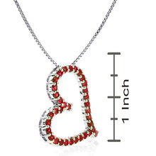 Load image into Gallery viewer, Sterling Silver Created Ruby Heart Pendant
