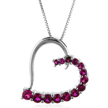 "Load image into Gallery viewer, Sterling Silver Ruby Heart Pendant w/18"" Chain"