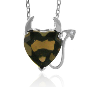 "3.00 Carat Smoky Quartz Devil Heart Pendant in Sterling Silver with 18"" chain"
