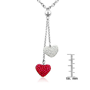 Swarovski Crystal Heart Drop Necklace in Sterling Silver