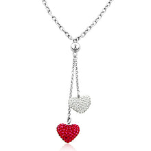 Load image into Gallery viewer, Swarovski Crystal Heart Drop Necklace in Sterling Silver