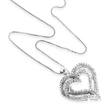 "Load image into Gallery viewer, 1.00 Carat tw Diamond Heart Pendant in Sterling Silver with 18"" Chain"