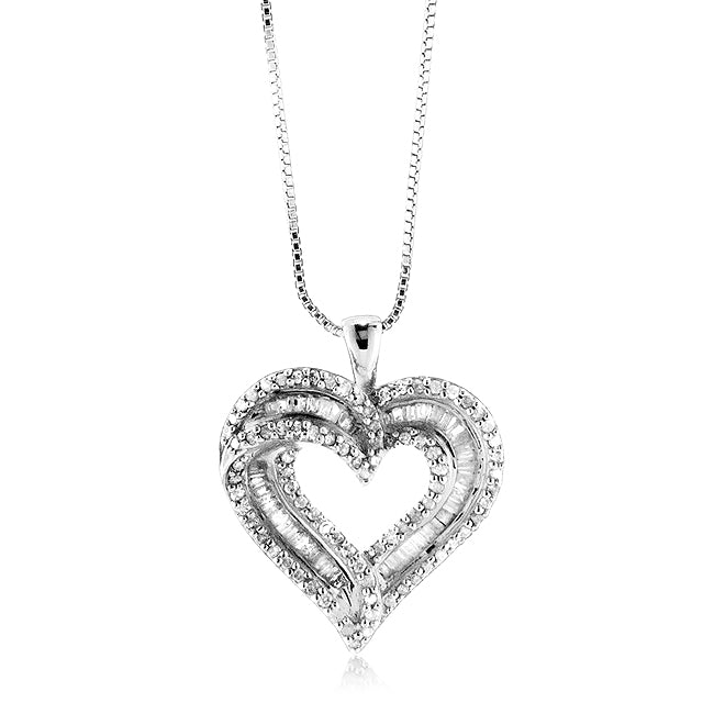 1.00 Carat tw Diamond Heart Pendant in Sterling Silver with 18