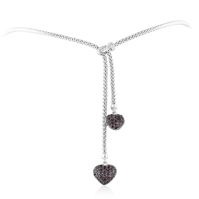 Ruby Hearts Drop Necklace in Sterling Silver