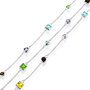 10.00 Carat Multi-Gemstone Stations Necklace in Sterling Silver - 36""