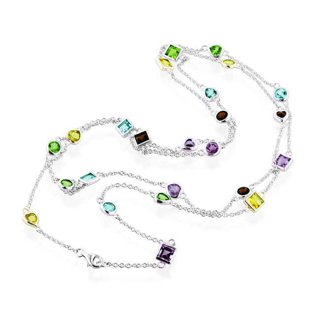 10.00 Carat Multi-Gemstone Stations Necklace in Sterling Silver - 36