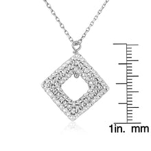 "Load image into Gallery viewer, Sterling Silver and Clear Crystal Diamond Shape Pendant with 18"" Chain"