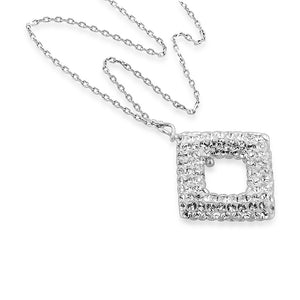 "Sterling Silver and Clear Crystal Diamond Shape Pendant with 18"" Chain"