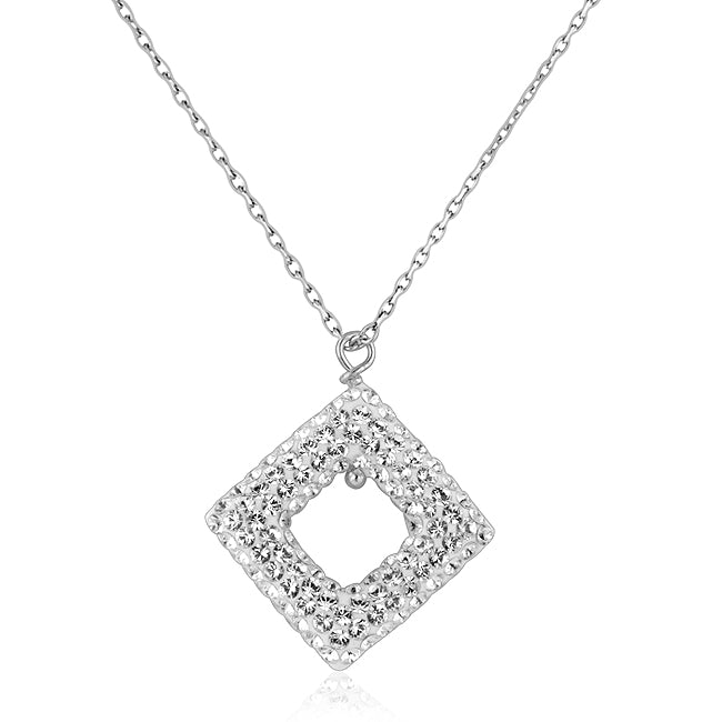 Sterling Silver and Clear Crystal Diamond Shape Pendant with 18