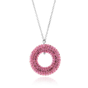 "Pink Crystal Pendant in Sterling Silver with 18"" Chain"