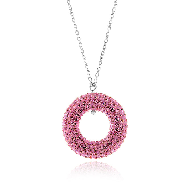 Pink Crystal Pendant in Sterling Silver with 18