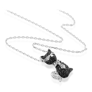 The adorable Cool Cat Pendant with Black and White CZ