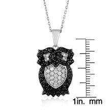 Load image into Gallery viewer, Black & White CZ Owl Pendant/Necklace in Sterling Silver