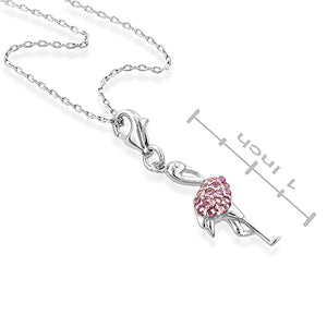 Created Pink Sapphire Flamingo Pendant in Sterling Silver