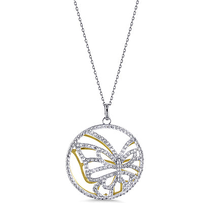 Sterling Silver Two Tone Fancy Circle Pendant with Sapphires with 18
