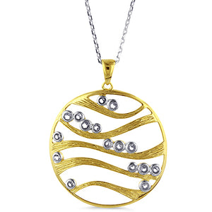 Designer Two-tone Sterling Silver 2-Tone Medallion with White Sapphires & Chain
