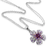 "Load image into Gallery viewer, Sterling Silver Crystal Purple Flower Pendant with 18"" Chain"