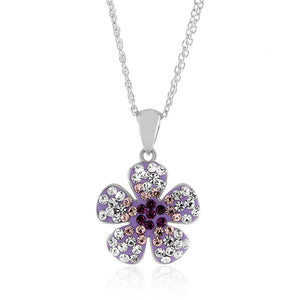 "Sterling Silver Crystal Purple Flower Pendant with 18"" Chain"