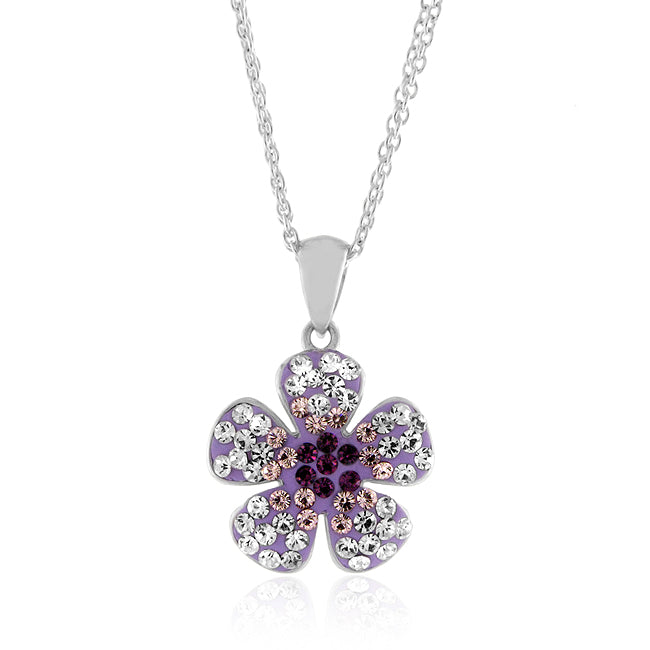 Sterling Silver Crystal Purple Flower Pendant with 18