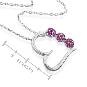 "1/2 Carat Ruby Flowers Sterling Silver Heart Pendant with 18"" Chain"