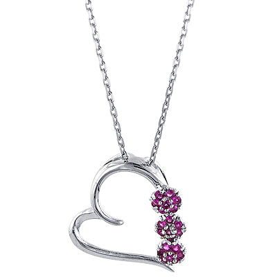 1/2 Carat Ruby Flowers Sterling Silver Heart Pendant with 18